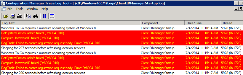 Sccm client log clientidmanagerstartup errors