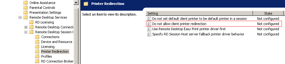 Group Policy setting for configuring Remote Desktop Printer Redirection