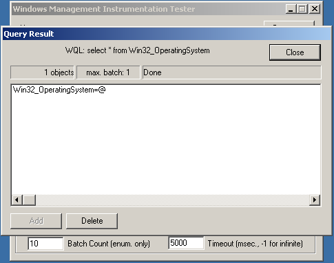 WIMQ Wbmetest Win32_OperatingSystem Success