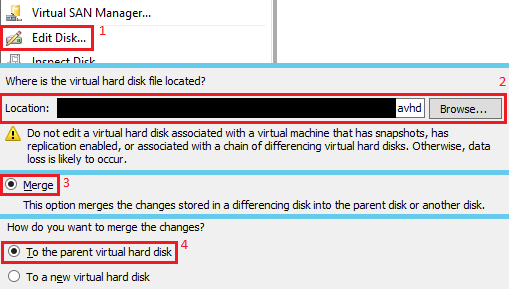 Merge VHD through Hyper-V Manager