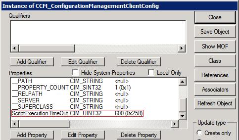 SCCM Script Execution TimeOut