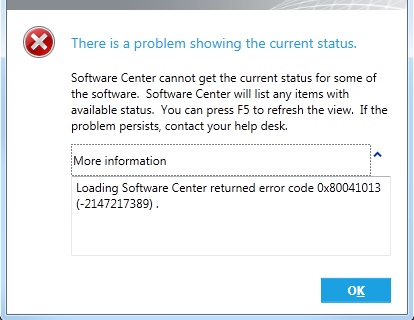 Software Console Error 0x80041013