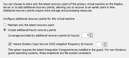 Recovery Points for Hyper-V Replica