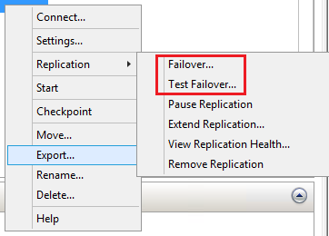Failover Actions for destination Hyper-V Replica server